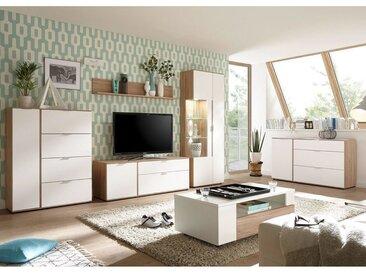 Retro Wohnwand mit Sideboard & Couchtisch SEATTLE-61 in weiß matt und San Remo Nb.