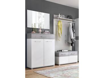 Garderoben Set DAKOTA-01 weiß, Beton-Optik, B x H x T ca. 200 x 200 x 40cm