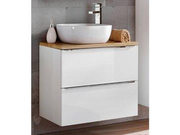 Badezimmer Waschtisch Set mit 60cm Keramik-Aufsatzwaschbecken TOSKANA-56 Hochglanz weiß & Wotaneiche BxHxT ca. 60/94/48cm