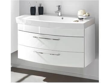 Badezimmer Waschtisch 100cm RIMAO-100 in Hochglanz weiß, Mineralgussbecken, B x H x T: ca. 100 x 57 x 50 cm