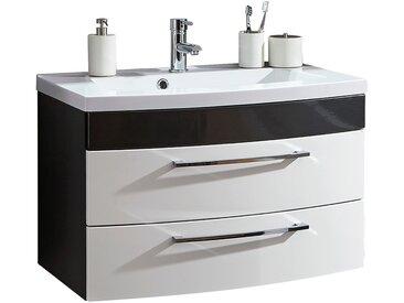 Waschtisch mit Unterschrank 82cm RIMAO-02 Hochglanz weiß, anthrazit, inkl. Waschbecken, B x H x T: ca. 82 x 54 x 48,5 cm