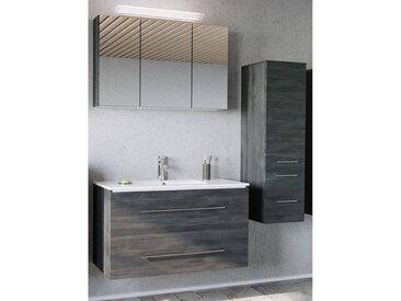 Badezimmer Komplett-Set in Graphit Struktur ABUJA-02 mit 100cm Keramik-Waschtisch & LED-Spiegelschrank, B/H/T: 151/200/45cm
