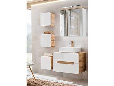 Bademöbel Waschplatz Set Hochglanz weiß, Wotaneiche LUTON-56 Keramik-Waschtisch BxHxT 130x200x46cm