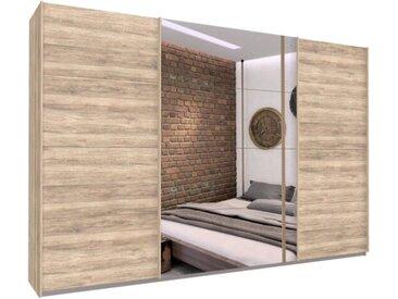 Schwebetürenschrank 315cm breit, 210cm hoch Eiche Sanremo hell und Spiegel