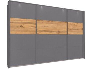 Schwebetürenschrank 315cm breit, 210cm hoch Grau-Metallic mit Passepartout und Eiche Wotan