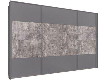 Schwebetürenschrank 315cm breit, 210cm hoch Grau-Metallic mit Passepartout und Stone-Grey
