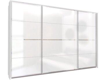 Schwebetürenschrank 315cm breit, 210cm hoch Hochglanz Weiß mit Passepartout und Chrom Griffleisten