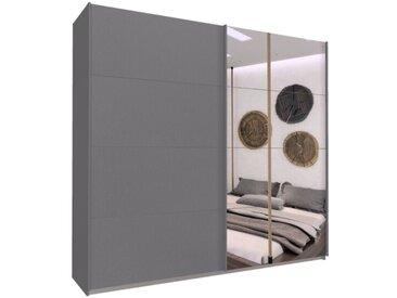 Schwebetürenschrank 226cm breit, 210cm hoch Grau-Metallic und Spiegel
