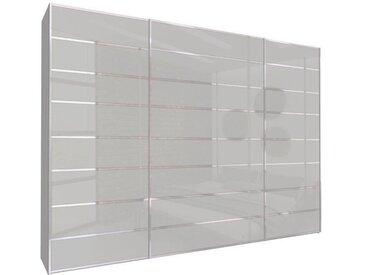 Schwebetürenschrank 315cm breit, 210cm hoch Seiden Grau Glas und Chrom