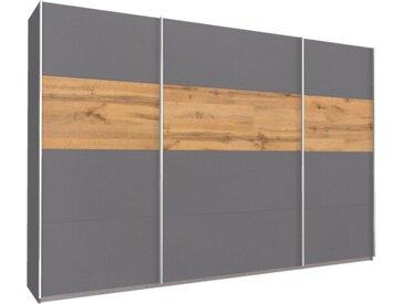 Schwebetürenschrank 315cm breit, 210cm hoch Grau-Metallic