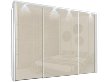 Schwebetürenschrank 315cm breit, 210cm hoch Hochglanz Weiß mit Passepartout