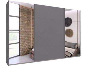 Schwebetürenschrank 315cm breit, 210cm hoch Grau-Metallic und Spiegel