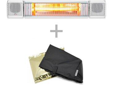 VASNER Appino BEATZZ Weiß Bluetooth Infrarot-Heizstrahler, LED, Musik-Lautsprecher mit AirCape Haube