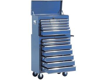 HOMCOM Fahrbarer Werkstattwagen | Abschließbar | 16 Schubladen | Stahl | 61,5 x 33 x 113 cm | blau