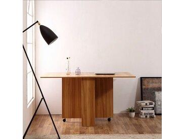 HOMCOM® Klapptisch Schreibtisch Beistelltisch Ablagefläche mit Rollen Teakholz