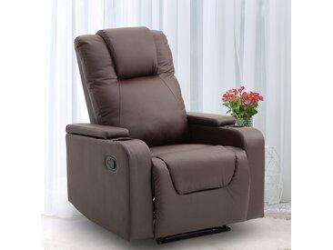 HOMCOM® Relaxsessel | Fernsehsessel | Kunststoff, Schaumstoff, Stahlfüße | 85 × 98 × 103 cm | Braun