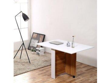 HOMCOM® Klapptisch Mobiler Tisch Schreibtisch mit Rollen Eiche+Weiß