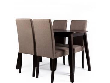 Essgruppe Vadic, Tisch und 4 Stühle, dunkelbraun/beige