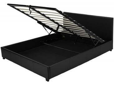 Kunstlederbett Veronica mit Bettkasten 140x200, schwarz