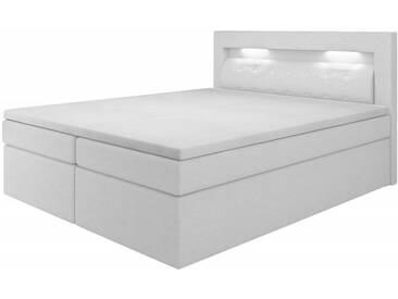 Boxspringbett Milano III, 140x200, Kunstleder, mit Bettkasten, weiß