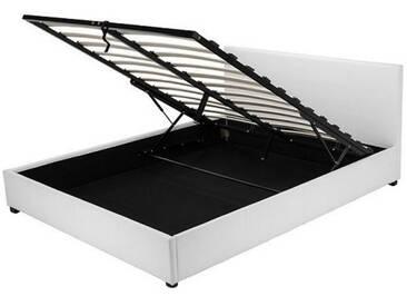 Kunstlederbett Veronica mit Bettkasten 180x200, weiß
