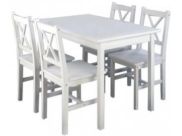 Essgruppe Corbin, Tisch und 4 Stühle, weiß