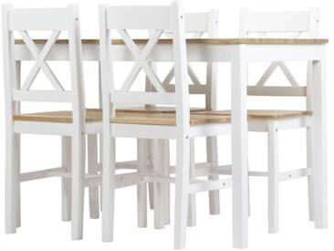 Essgruppe Corbin II Tisch und 4 Stühle Massivholz