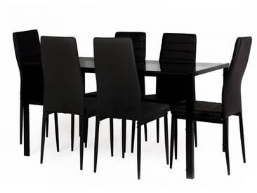 Essgruppe Neckon II: Glastisch und 6 Stühle