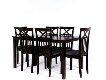Essgruppe Pado, Tisch und 6 Stühle, dunkelbraun