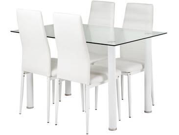 Essgruppe Neline: Glastisch und 4 weiße Stühle