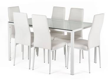 Essgruppe Neckon II: Glastisch und 6 weiße Stühle