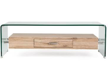 Couchtisch Alaric, aus gebogenem Glas, mit Schublade