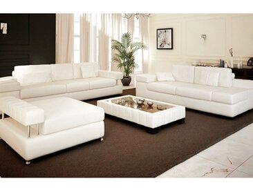 Leder Sofagarnitur MÜNCHEN - Couchgarnitur 3-Sitzer + 2-Sitzer Daybed + XXL Hocker - BULLHOFF®