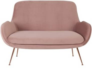 Moby 2-Sitzer Sofa, Samt in Vintagerosa