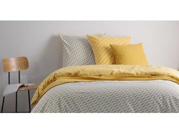 Prism 100 % Baumwolle Bettwaescheset (135 x 200 cm), Senfgelb und Grau