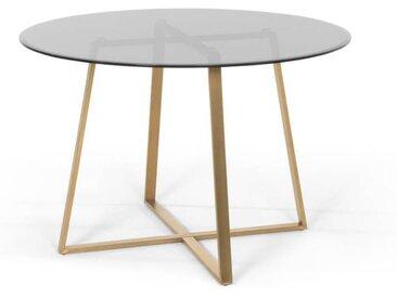 Haku runder Esstisch, Messing und Rauchglas