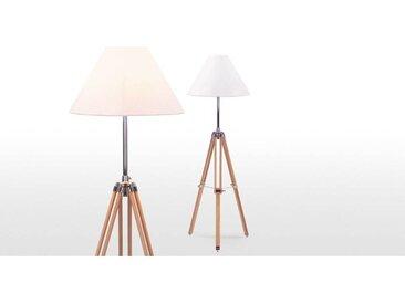 Navy Tripod-Stehlampe, Weiss und Holz