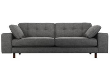 Content by Terence Conran Tobias, 3-Sitzer Sofa, Schiefergrau, dunkle Holzbeine