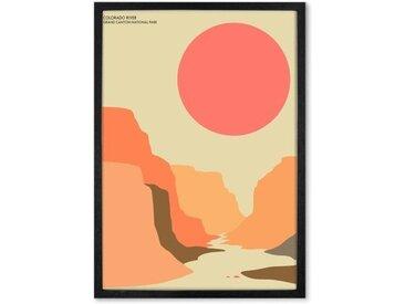 Grand Canyon Landscape Travel Poster, gerahmter Kunstdruck (A2), Mehrfarbig
