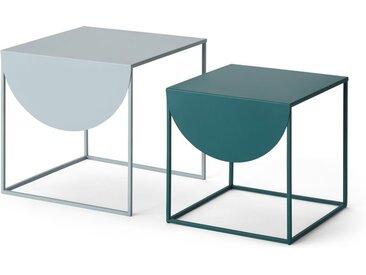 MADE Essentials Emira Satztische, Grau und Blaugruen