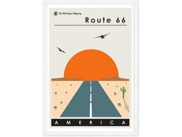 Route 66 Landscape Travel Poster, gerahmter Kunstdruck (verschiedene Groessen erhaeltlich), Mehrfarbig