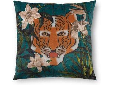 Beatrice Kissen (45 x 45 cm), Samt mit Tigerdruck