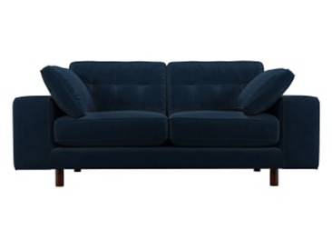 Content by Terence Conran Tobias, 2-Sitzer Sofa, Samt in Indigoblau, dunkle Holzbeine