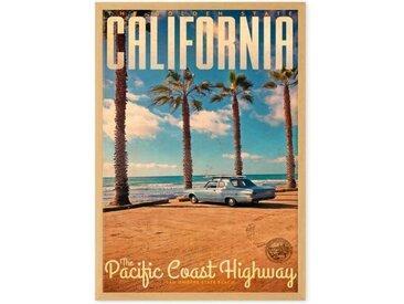 California Vintage Travel, gerahmter Kunstdruck (A2), Mehrfarbig