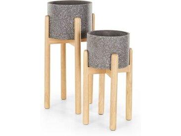 2 x Hakuun Blumentoepfe mit Holzgestell, Terrazzo