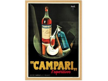Campari Vintage Drinks Framed A1 Wall Art Print, Multi