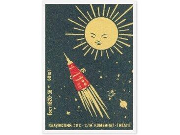 Rocket Vintage Space, gerahmter Kunstdruck (A1), Marinerot und Schwarz