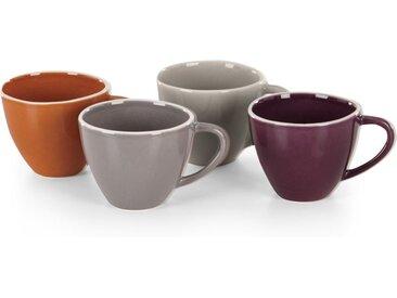 Noah Set of 4 Mugs, Orange, Burgundy Red & Light Grey