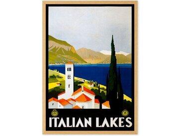 Italian Lakes Vintage Travel, gerahmter Kunstdruck (verschiedene Groessen erhaeltlich)