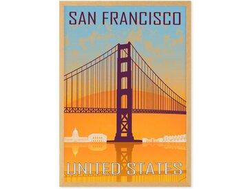 San Francisco Vintage Travel, gerahmter Kunstdruck (A2), Blau und Orange
